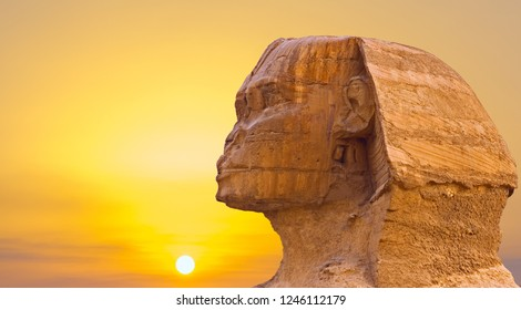 Sphinx head against the yellow sky, space for your text