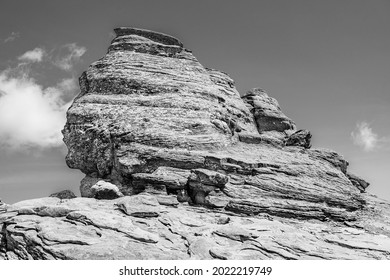 The Sphinx, a natural rock formation in the Bucegi Natural Park, Bucegi Mountains of Carpathians Mountains, Romania at 2216 metres (7,270 ft) altitude
