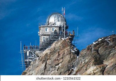 The Sphinx Observatory sits perched on a rocky outcropping, high in the Swiss Alps near the Jungfrau and the Jungfrau Glacier in Switzerland.