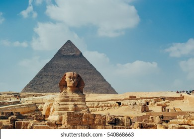 The Sphinx and Pyramid ,Cairo,Egypt - Filtered image:cross processed vintage effect.