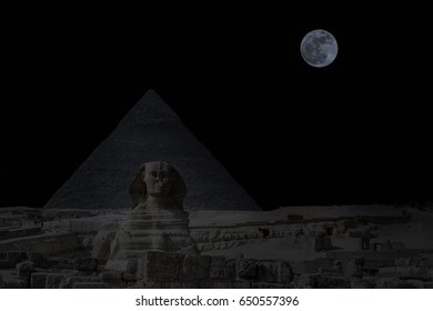 The Sphinx and the Pyramid, with  Full moon rising , Cairo, Egypt