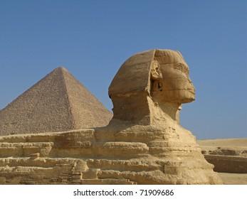 Sphinx and Pyramid at Giza, Cairo