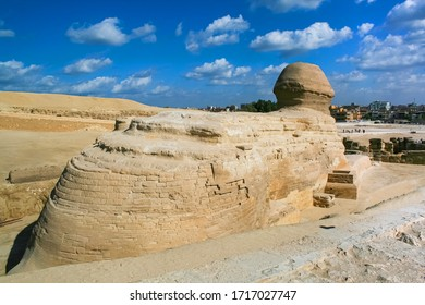 Sphinx rear view  against a very beautiful sky. Egyptian Sphinx in Egypt close-up, Giza, Egypt