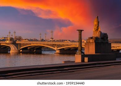 Sphinx in Saint Petersburg. Sights of Russia. Annunciation Bridge over Neva. Embankments to Petersburg. Monument to Egyptian Sphinx. Cities of Russia. Holidays in Russia. Rest in Saint  Petersburg
