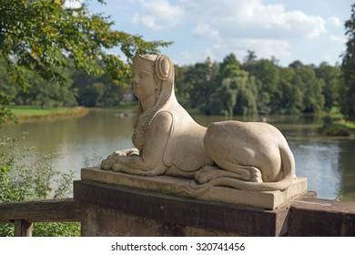 Sphinx statue in park Schoenbusch near Aschaffenburg