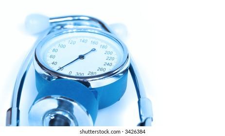 sphygmomanometer in blue lights - blood pressure measure