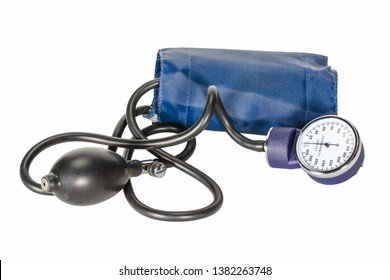 Sphygmomanometer or classic tonometer isolated on white background, blue tonometer for measure of blood pressure.