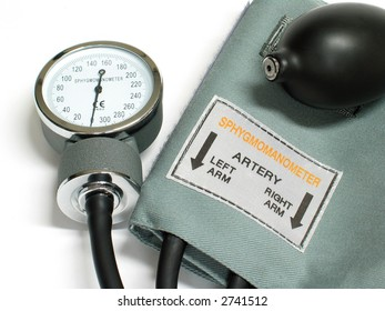 Sphygmomanometer, isolated on white background
