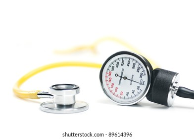 A sphygmomanometer and stethoscope on white. healthcare concept. Shallow DOF.