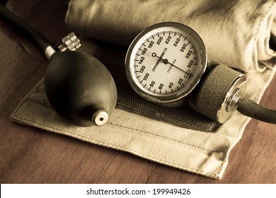 Sphygmomanometer,medical tool and equipment in vintage color.