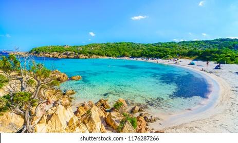 Spiaggia del Principe, beach of Emerald coast, east Sardinia island, Italy