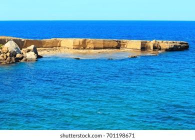 Spiaggia Massolivieri beach summer sea landscape (Siracusa, Sicily, Italy)