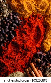 Spice background with different color spices
