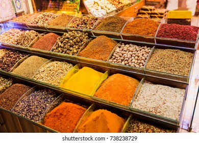 Spice Bazar with different coloful exotic peppers in Istanbul, Turkey