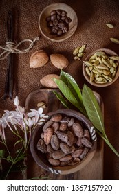 Spice, beans and flowers on a leather background.