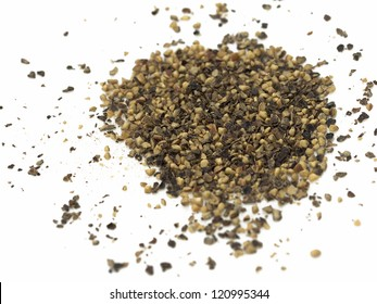 Spice of black pepper isolated on white background