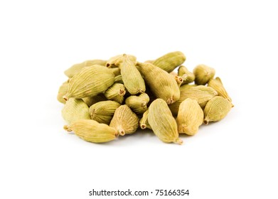 the spice Cardamom in a pile isolated on white