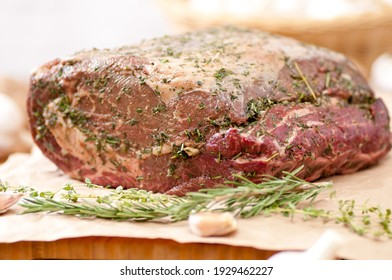 spice and herb crusted beef rib roast, raw and ready for the oven