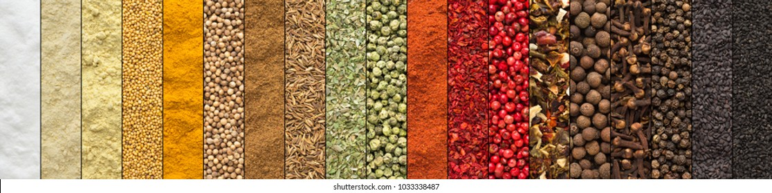 Spice and herbs background, collage of condiments - Shutterstock ID 1033338487