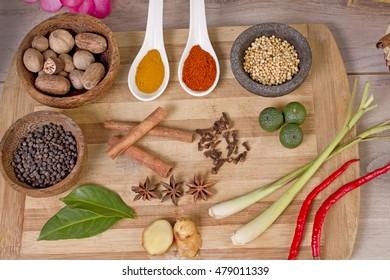 spice and herbs, food ingredients and seasoning