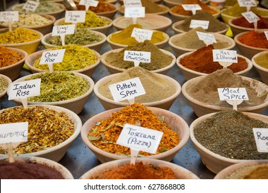 Spice market. Assortment of different colorful powder seasoning. Spices and  nuts at the market in the old city Jerusalem.