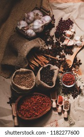 Spice mixture of white pepper, black pepper, chilli and garlic oregano. Cooking ideas and savory in the studio.