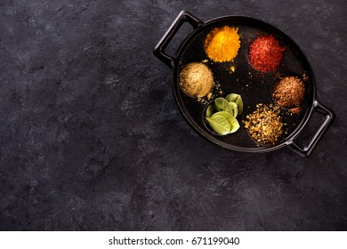 Spice powder and herbs and copy space for text