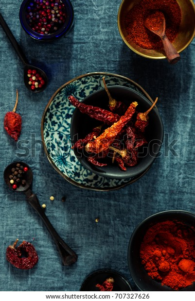 Spice Red Chili Peppers Chili Powder Stock Photo Edit Now 707327626
