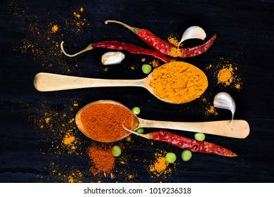 spice red chilli in spoon