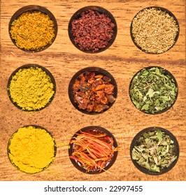 Spice - saffron;  sumak; oragane; mint; fleisch; cumin; coriander;curry; chili.