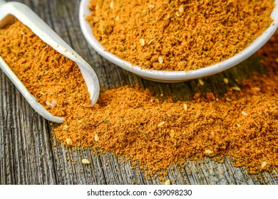 Spice. Various Spices over Wooden Background. Saffron, turmeric curry