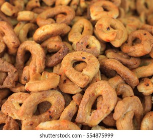 Spiced, chili flavored taralli, typical savoury bagels of the southern Italian cuisine.