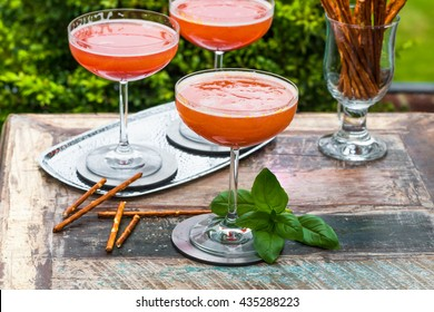 Spiced plum Bellini cocktail with Prosecco