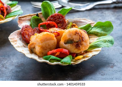 Spiced scallops with chorizo and chili in shells