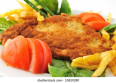 spiced schnitzel with tomato lettuce