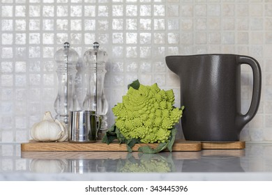 Spices and accessories in clean, modern kitchen