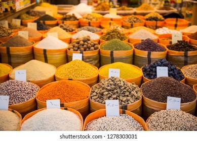 Spices in the Bazaar of Sulaymaniyah. Kurdistan, Iraq