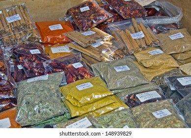 Spices to be sold on a typical market of Majorca (Spain)