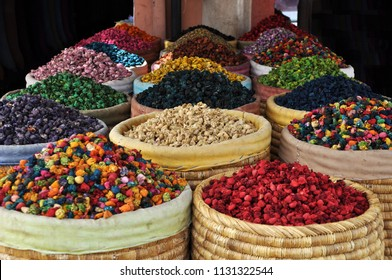 Spices for cooking. Tea herbs. Street market in Marrakech, Morocco, Africa. Moroccan cuisine