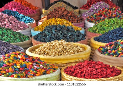 Spices for cooking and tea. Street market in Marrakech, Morocco, Africa. Moroccan cuisine
