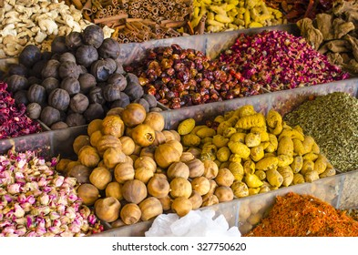Spices, Dried Herds, Flowers and Fruits on the Spice Souk in Deira, Dubai.