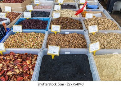 Spices and dried on trays Turkish Oriental Market in Istanbul