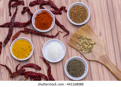 Spices for herb and cooking,Top view spices on wood background,spices content,Various kinds of spices on wood background.