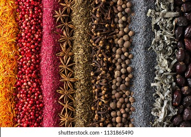 Spices and herbs background for website design. Seasonings scattered on the table.