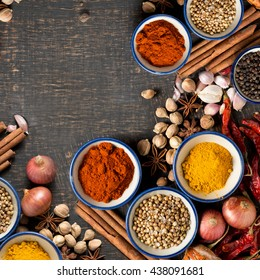 Spices and herbs. Food and cuisine ingredients. Colorful natural additives. healthy or cooking, asian food.