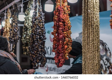 Spices, herbs and nuts in traditional Turkish Bazaar of Istanbul. East Bazaar. East oriental spices. Counter with dried fruits and nuts.