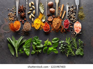 Spices and herbs on black board