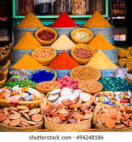 Spices and herbs on a moroccan market,Marrakesh, Morocco.