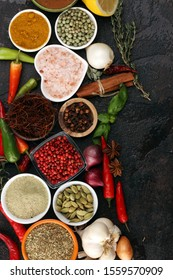 Spices and herbs on table. Food and cuisine ingredients for cooking