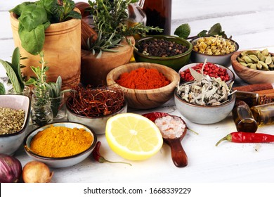 Spices and herbs on table. Food and cuisine ingredients on table
